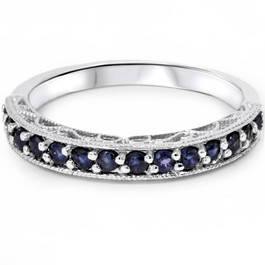 3/8ct Blue Sapphire Vintage Wedding Ring 14K White Gold