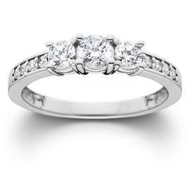 1ct Three Stone Diamond Ring 14K White Gold (H/I, I2-I3)