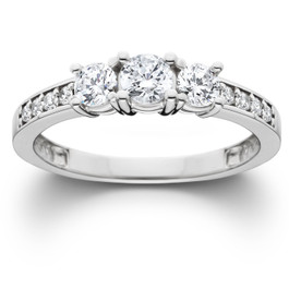 1ct Three Stone Diamond Ring 14K White Gold (H/I, I2-I3)
