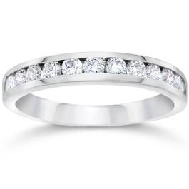 1/2ct Channel Set Diamond Wedding Ring 14K White Gold (G/H, VS2)