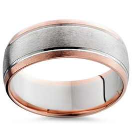 8MM 14K Rose & White Gold Two Tone Mens Wedding Band