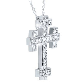 "1/2ct Diamond Cross Pendant 14K White Gold 3/4"" Tall (G/H, I1-I2)"