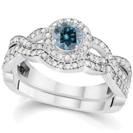 1 1/10ct Blue Diamond Infinity Engagement Wedding Ring Set 14K White Gold (G/H, I1-I2)