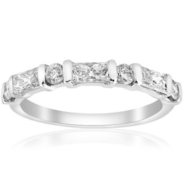 White Gold 1/2ct Round & Baguette VS Diamond Ring (G/H, VS)