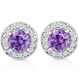 5/8ct Halo Diamond Amethyst Studs 14K White Gold (G/H, I1)