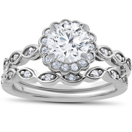 1 Carat D VS2 Enhanced Halo Diamond Engagement Ring Set Round Cut 14K White Gold (D, VS(2)-SI(1))