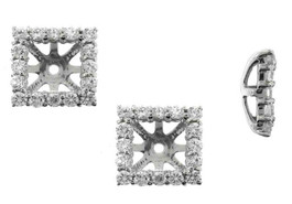 G/SI 1 1/4ct Princess Cut Diamond Halo Earring Jackets Studs 14K White Gold Fits 5.5-6mm (G-H, SI)