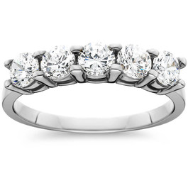 1ct Five Stone Genuine Round Diamond Wedding Anniversary Ring 14K White Gold (I-J, I2-I3)
