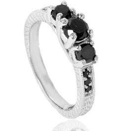1 3/4ct Black Diamond Vintage Engagement Ring 14K White Gold (Black, )