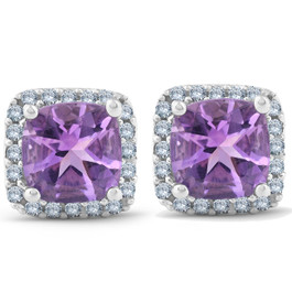 3ct Pave Halo Amethyst Studs 14K White Gold (G/H, I2)