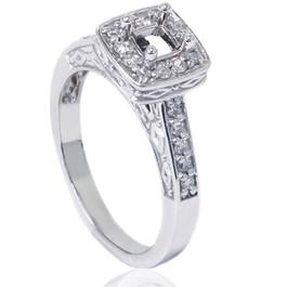 1/4ct Vintage Semi Mount Engagement Ring 14K White Gold (G/H, VS2-SI1)
