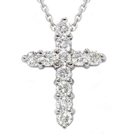 "1ct Diamond Cross Pendant 14K White Gold 1"" Tall (G/H, I1)"