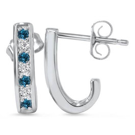 1/3ct Blue & White Diamond Hoops 14K White Gold (G/H, I1-I2)