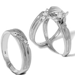 Diamond Matching Mens Womens Engagement Wedding Ring Bridal Set Trio 14K Gold (G/H, I2)
