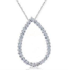 "SI 1ct Pear Shape Circle Style REAL Diamond Pendant White gold 18"" Chain (G/H, SI)"