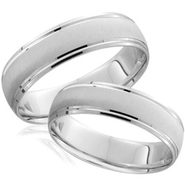 White Gold Brushed Wedding Band Set Matching Mens Womens Rings 14k 6/5MM