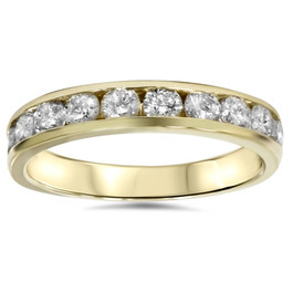 1/2ct 14K Yellow Gold Channel Set Diamond Wedding Ring (G/H, I1)