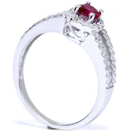 3/4ct Ruby & Diamond Split Shank Ring 14K White Gold (G/H, I2-I3)