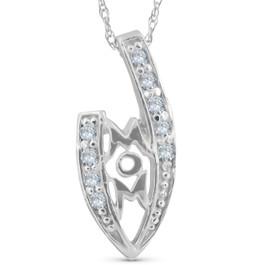 1/10ct Diamond MOM Love Pendant Necklace White Gold (G/H, I2)