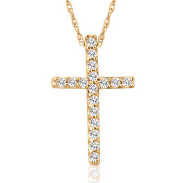 1/10ct Diamond Cross Pendant 10K Yellow Gold (G/H, I2)