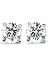 .75Ct Natural Diamond Studs Available in 14K White And Yellow Gold Basket Setting (J-K, I2-I3)