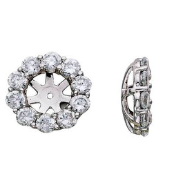 G/SI 1 1/2ct Diamond Halo Earring Studs Jackets White Gold Fits 1ct (6-6.7mm) (G-H, SI)