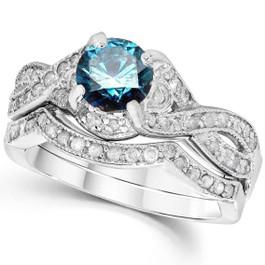1 1/2ct Blue Diamond Engagement Ring Infinity Set 14K White Gold (G/H, I1-I2)