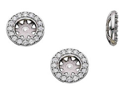 3/4ct Halo Round Diamond Studs Earring Jackets White Gold Fits 1ct (6-6.5mm) (G-H, I1)