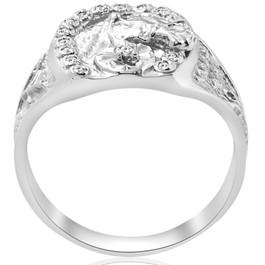 Mens Diamond Lucky Horseshoe Ring 10K White Gold (G/H, I2-I3)