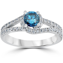 1ct Blue Diamond Twist Engagement Ring 14K White Gold (G/H, I1-I2)