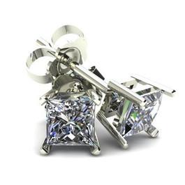 .66Ct Square Princess Cut Natural Diamond Stud Earrings in 14K Gold Basket Setting (G/H, I2-I3)
