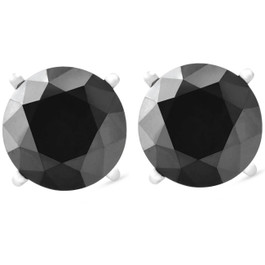 White Gold 1ct Round Cut Black Diamond Studs (Black, AAA)