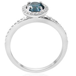 3/4ct Blue Diamond Halo Ring 14K White Gold (G/H, I1-I2)