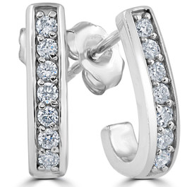 1/3ct Diamond Hoops 14K White Gold (G/H, I1-I2)