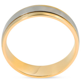 Platinum & 18k Yellow Gold Two Tone Polished Comfort Fit Wedding Band Set