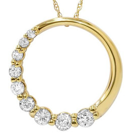 14K Yellow Gold 1/2ct Circle Journey Diamond Pendant (G/H, I1)