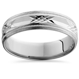 10K White Gold Swiss Cut Mens 6mm Wedding Band