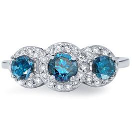 1ct Pave Halo Treated Blue Diamond Engagement 3-Stone Ring 14K White Gold (G/H, I1-I2)
