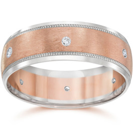 8MM Mens Two Tone 14K Rose Gold Diamond Wedding Band (G/H, SI1-SI2)