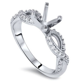 1/3ct Infinity Twist Diamond Engagement Ring Setting 14K White Gold (H/I, I1-I2)