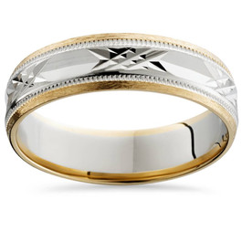 Mens Two Tone 6mm Wedding Band 14K Gold