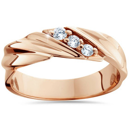 1/10ct Diamond 14K Rose Gold Mens Wedding Ring (H/I, I2)