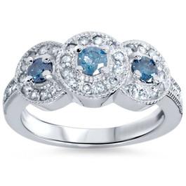 3/4ct Blue & White Diamond 3 Stone Ring 14K White Gold (H/I, I1-I2)