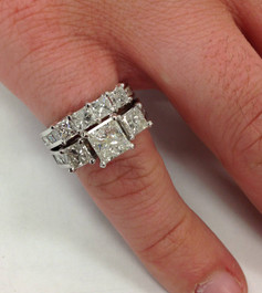3 1/2ct Side Stone Diamond Ring Set 14K White Gold (G/H, I1)