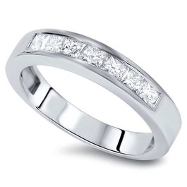1 Ct Princess Cut Channel Set Diamond Wedding Ring 14K White Gold (G/H, SI2)