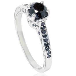 1 1/4ct Vintage Black Diamond Ring 14K White Gold (Black, AAA)