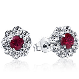 2 1/2ct Genuine Ruby & Diamond Halo Earrings 14K White Gold (G/H, I1)
