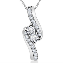 3/4CT Forever Us Two Stone Diamond Pendant 10K White Gold (I-J, I1-I2)