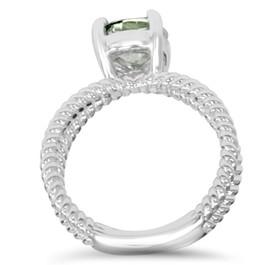 1 3/4CT Aquamarine Briaded Solitaire Ring 14k White Gold