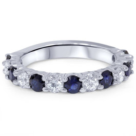 2ct Diamond & Blue Sapphire Wedding Ring 14K White Gold (H/I, I1-I2)